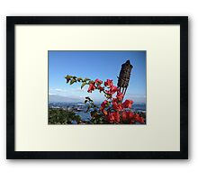 Hawaii Tiki and Flowers Framed Print