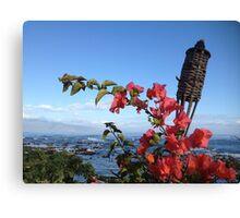 Hawaii Tiki and Flowers Canvas Print