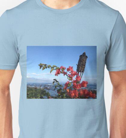 Hawaii Tiki and Flowers Unisex T-Shirt