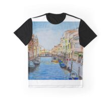 Venice Wooden Bridge Aquarelle Graphic T-Shirt