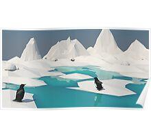 Low Poly Penguin Scene Poster