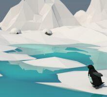 Low Poly Penguin Scene Sticker