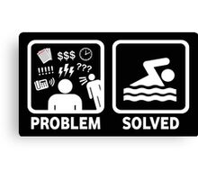 Funny Swimming Problem Solved Canvas Print