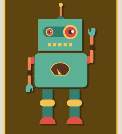 Fun Retro Robot Art Sticker