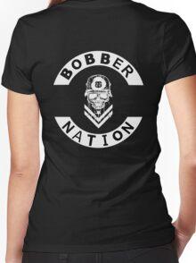 Bobber Nation White Women's Fitted V-Neck T-Shirt