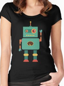 Fun Retro Robot Art Women's Fitted Scoop T-Shirt