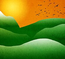 Green Mountain Sunrise Landscape Art by Christina Rollo
