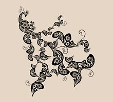 Elegant Vintage Black Boho Floral Paisley Peacock Womens Fitted T-Shirt