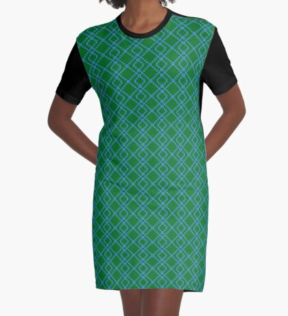 Diamonds Are Forever Green/Teal Graphic T-Shirt Dress