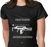 USCM - Peace through superior firepower Womens Fitted T-Shirt