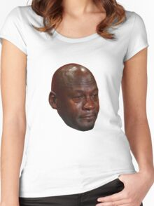High Quality Crying Jordan Women's Fitted Scoop T-Shirt