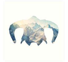 Elder Scrolls - Helmet - Ice Mountains Art Print