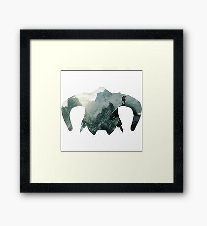 Elder Scrolls - Helmet - Mountains Framed Print