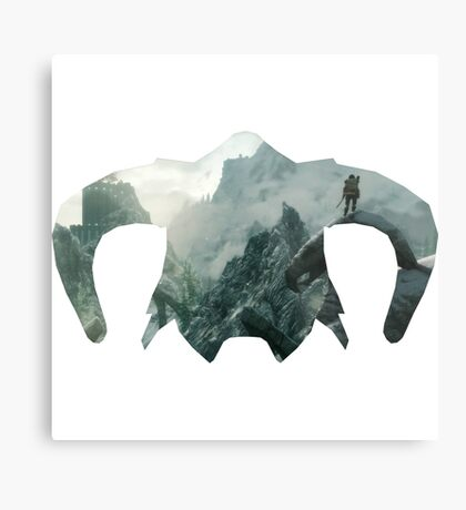 Elder Scrolls - Helmet - Mountains Metal Print