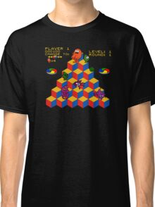 Q*Bert - Video Game, Gamer, Qbert, Orange, Black, Nerd, Geek, Geekery, Nerdy Classic T-Shirt
