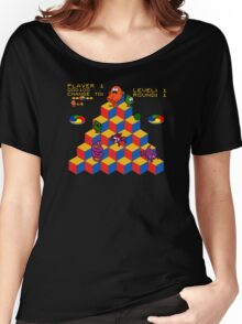 Q*Bert - Video Game, Gamer, Qbert, Orange, Black, Nerd, Geek, Geekery, Nerdy Women's Relaxed Fit T-Shirt