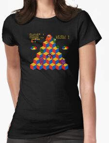 Q*Bert - Video Game, Gamer, Qbert, Orange, Black, Nerd, Geek, Geekery, Nerdy Womens Fitted T-Shirt