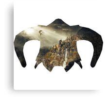 Elder Scroll - Helmet - Dragon Battle! Canvas Print