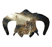 Elder Scroll - Helmet - Dragon Battle! Photographic Print