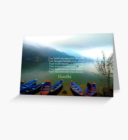 Gandhi Wisdom Saying About Destiny With Mountain View Greeting Card
