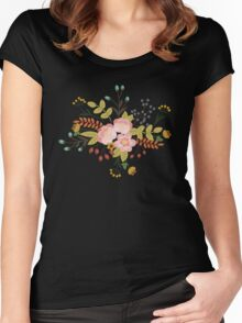 Woodland Flowers - Black Women's Fitted Scoop T-Shirt