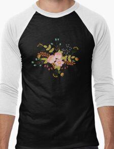Woodland Flowers - Black Men's Baseball ¾ T-Shirt