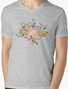 Woodland Flowers - Black Mens V-Neck T-Shirt