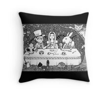 Mad Hatters Tea Party Throw Pillow