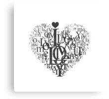 Love heart black and white Canvas Print