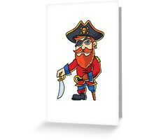 Wooden One Leg Eye Patch Hook Sword Pirate  Greeting Card