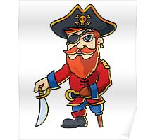 Wooden One Leg Eye Patch Hook Sword Pirate  Poster