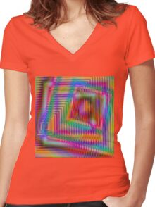 Geometric Echo Women's Fitted V-Neck T-Shirt