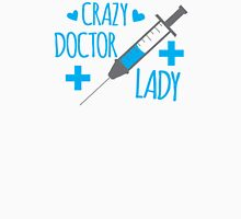 Crazy Doctor Lady with hypodermic needle and cross Womens Fitted T-Shirt