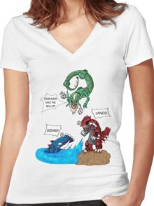 Old man Rayquaza losing it Women's Fitted V-Neck T-Shirt