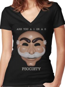 Are You A 1 or a 0 - FSOCIETY Women's Fitted V-Neck T-Shirt