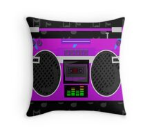 Cute Purple 80's Boombox Throw Pillow