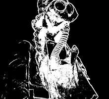 Black and White Negative Nurse in Gasmask by dianegaddis