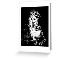 Black and White Negative Nurse in Gasmask Greeting Card