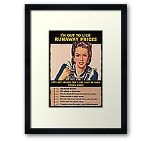 Woman Shakes Fist at Runaway Prices WWII Framed Print