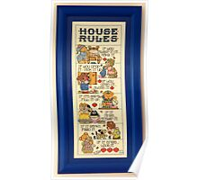 Cross stitch of ' House Rules.'............! Poster