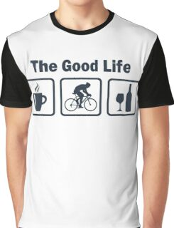 Cycling The Good Life Coffee Wine Graphic T-Shirt