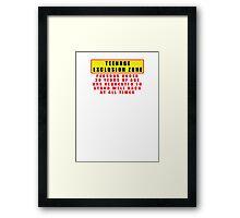 TEENAGE EXCLUSION ZONE Framed Print