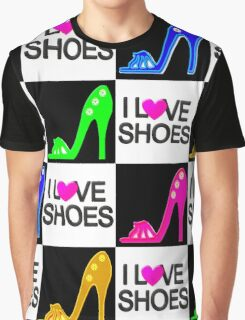 COLORFUL I LOVE SHOES DESIGN Graphic T-Shirt