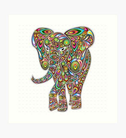Psychedelic Elephant Art Print