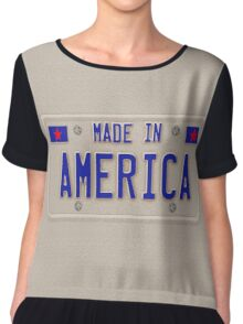 Made In America Car Licence Plate Chiffon Top
