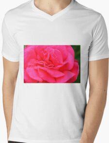 Macro on pink rose. Mens V-Neck T-Shirt