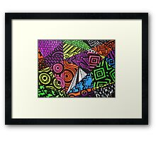 Abstract Fluoro Geometric 1 by Heatherian Framed Print