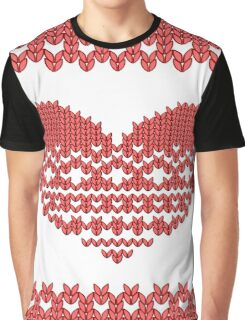 Red Knitted Look Love Heart  Graphic T-Shirt