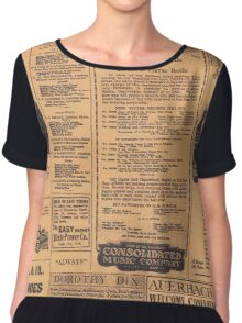 Old Newspaper Page Look Chiffon Top