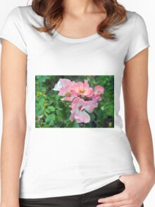 Beautiful small light pink flowers in the garden. Women's Fitted Scoop T-Shirt